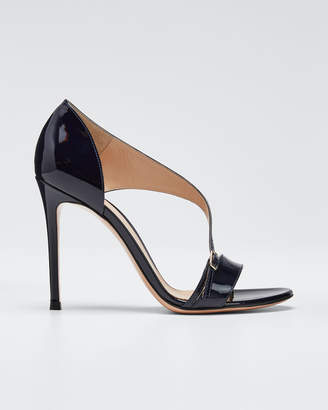 Gianvito Rossi Patent Cross-Strap Sandals, Navy