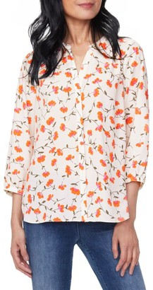 NYDJ Pintuck Floral Print Blouse