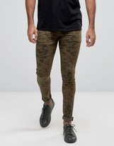 Asos Extreme Super Skinny Jeans In Camo