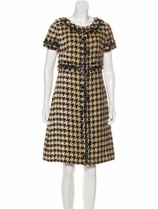 Oscar de la Renta Houndstooth Knee-Length Dress Beige