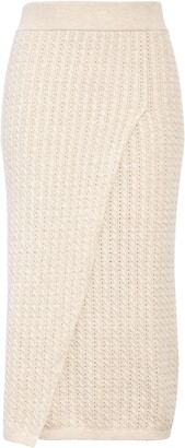 Current Air Pointelle Cable Knit Midi Sweater Skirt
