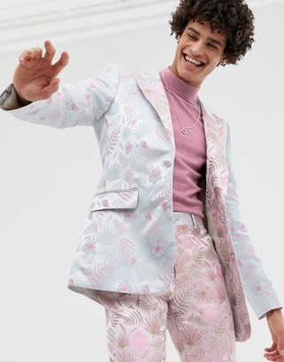 Asos Edition EDITION slim suit jacket with cut and sew floral jacquard-Pink
