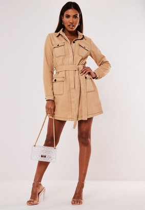 Missguided Tan Utility Belted Contrast Stitch Denim Dress