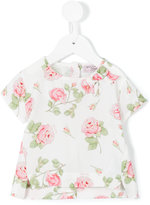MonnaLisa rose print T-shirt - kids - Viscose - 3 mth