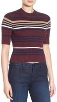 BP Crop Stripe Rib Knit Sweater
