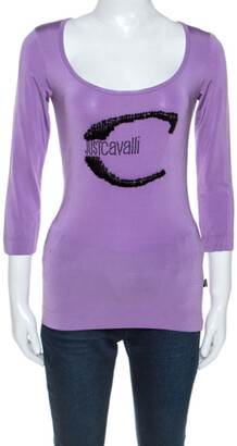 Roberto Cavalli Lilac Jersey Embellished Logo Scoop Neck Top S