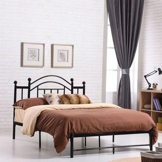 Overstock Full size Black Platform Bed Frame with Metal Slats and Headboard