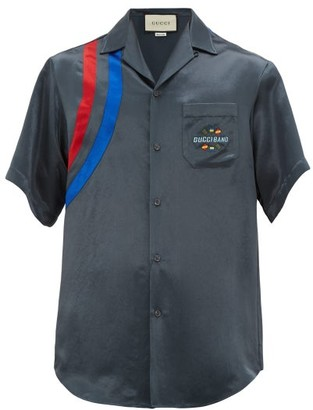 Gucci Band-embroidered Satin Bowling Shirt - Dark Grey
