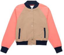 Herschel Khaki & Peach Varsity Jacket - XXS - Pink/Blue/Natural