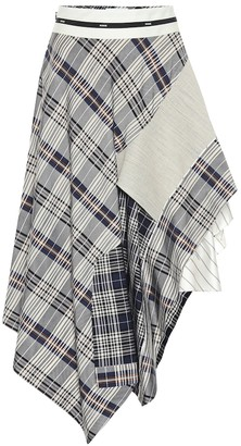 Monse Cotton-blend checked midi skirt