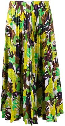 Valentino Monkey Forest pleated midi skirt