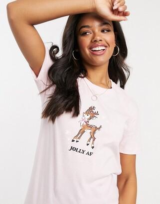 Skinnydip Skinny Dip oversized christmas t-shirt in pink