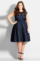 City Chic Plus Size Women's Lace Neck Brocade Dress