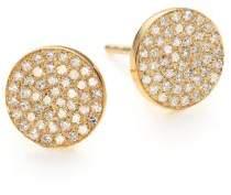 Ef Collection Diamond& 14K Yellow Gold Disc Stud Earrings