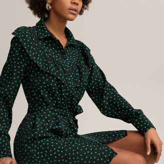 La Redoute Collections Polka Dot Shirt Dress with Tie-Waist and Ruffles