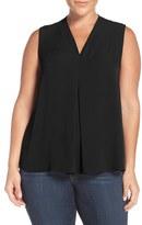 Sejour Plus Size Women's Pleat Front V-Neck Shell
