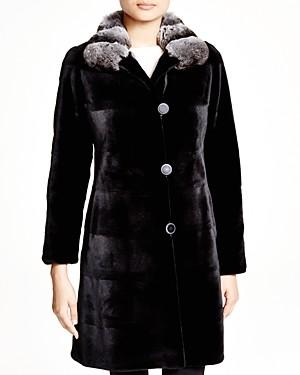 Maximilian Furs Maximilian Sheared Kopenhagen Mink Reversible Coat with Chinchilla Collar - 100% Exclusive
