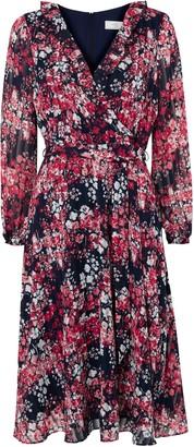 Wallis PETITE Navy Floral Print Ruffle Midi Dress