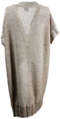 Lorena Antoniazzi Short-sleeved Maxi Cardigan Sweater In Linen And Cotton With Micro Sequins