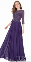 Terani Couture Lattice Beaded Three-Quarter Sleeve Evening Dress