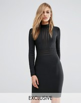 Wow Couture Bandage High Neck Dress With Mesh Inserts