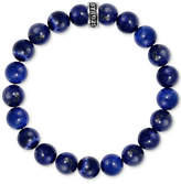 King Baby Studio Men's Lapis Beaded Stretch Bracelet in Sterling Silver
