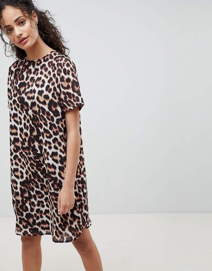 Asos Design DESIGN Sheer Shift Mini Dress in Leopard Print