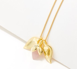 Celebre Sterling Silver Lotus Flower Charm Necklace, Gold Plated