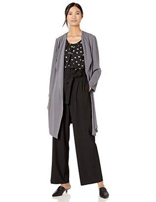 Nine West Women's Ruffle Front Soft Crepe Duster