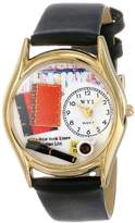 Whimsical Watches Book Lover Black Leather and Goldtone Unisex Quartz Watch with White Dial Analogue Display and Multicolour Leather Strap C-0450003