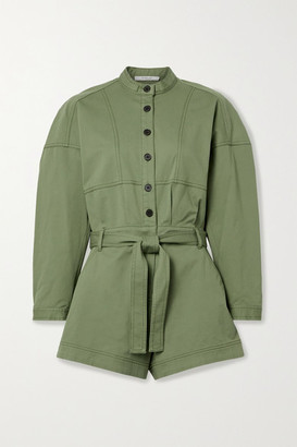 Derek Lam 10 Crosby Calla Belted Cotton-blend Twill Playsuit - Army green
