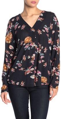 Lush Floral Long Sleeve V-Neck Top