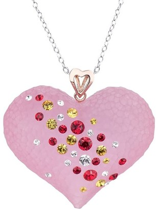 Gold & Honey Pink Lucite Heart Pendant With Swarovski Crystals
