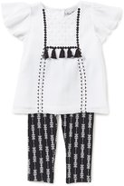 Rare Editions Baby Girls 12-24 Months Tassel Short-Sleeve Top & Patterned Leggings Set