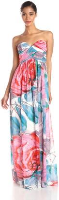 Donna Morgan Women's Laura Strapless Long Chiffon Printed Dress