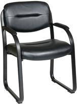 Office Star Deluxe Faux Leather Visitors Chair with Sled Base in Black