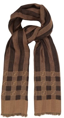 Fendi Striped Knitted Wool-blend Scarf - Brown