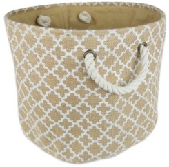 Design Imports Burlap Bin Lattice Round Medium