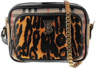 Burberry Leopard Vintage Check TB Camera Bag