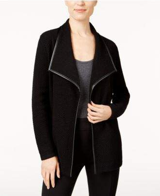 JM Collection Faux-Leather-Trim Cardigan, Created for Macy's