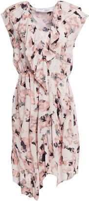 IRO Wrap-effect Ruffle-trimmed Floral-print Crepe De Chine Dress