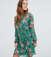 Asos Long Sleeve Ruffle Mini Shift Dress in Floral Print