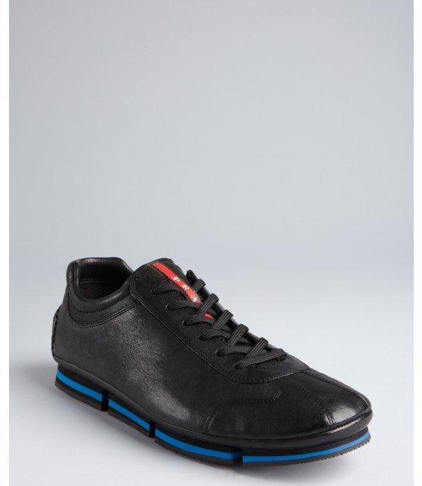 Prada Sport black leather blue stripe detail sneakers