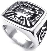 Konov Jewelry Mens Stainless Steel Ring, Vintage Cross Crown Freemason Masonic