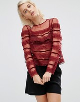 Asos Top With Lace And Velvet Trim