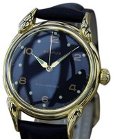 Benrus LA92 Gold Plated Stainless Steel & Leather 32mm Watch