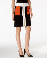 INC International Concepts Colorblocked Zip-Front Pencil Skirt, Only at Macy's