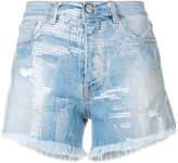 Pinko sequin embellished denim shorts