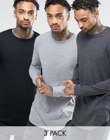 Asos 3 Pack Super Longline T-shirt In Grey Marl/charcoal Marl/black With Curved Hem Save