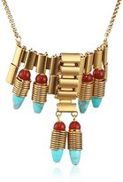 Ela Stone June Turquoise and Cornelian Stones Brass Necklace of Length 45 cm